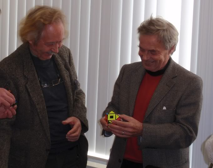 Uwe Meffert and Erno Rubik with my Void Skewb